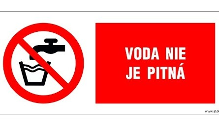 The sign for the non-potable tap water in Slovakia